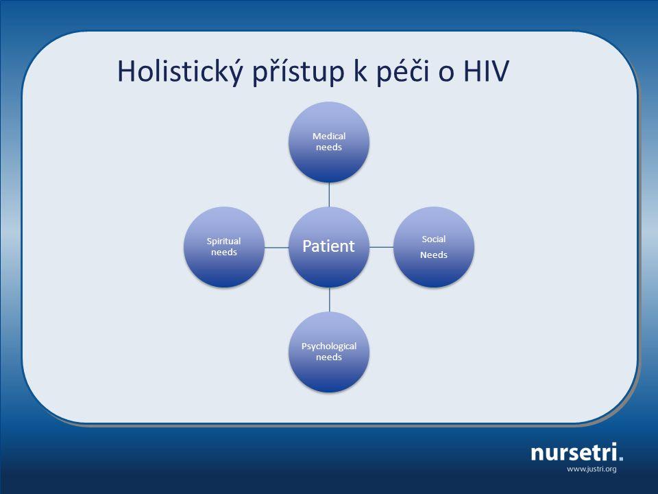 Patient Medical needs Social Needs Psychological needs Spiritual needs Holistický přístup k péči o HIV