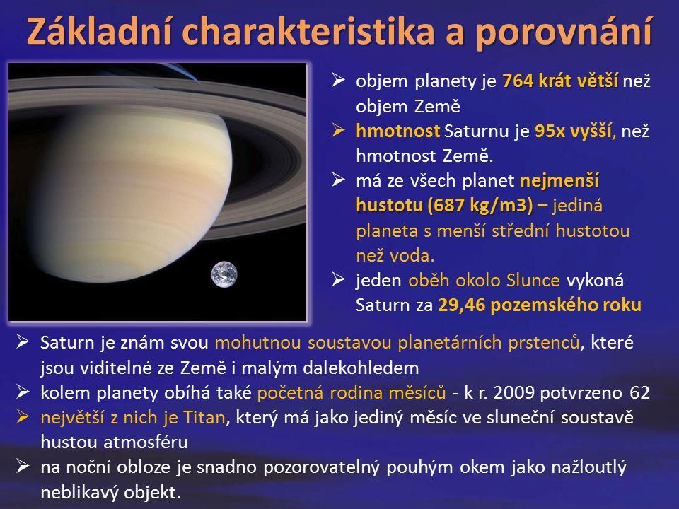  Saturn je znám svou mohutnou soustavou planetárních prstenců, které jsou viditelné ze Země i malým dalekohledem  kolem planety obíhá také početná rodina měsíců - k r.