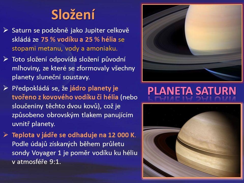 Složení  Saturn se podobně jako Jupiter celkově skládá ze 75 % vodíku a 25 % hélia se stopami metanu, vody a amoniaku.