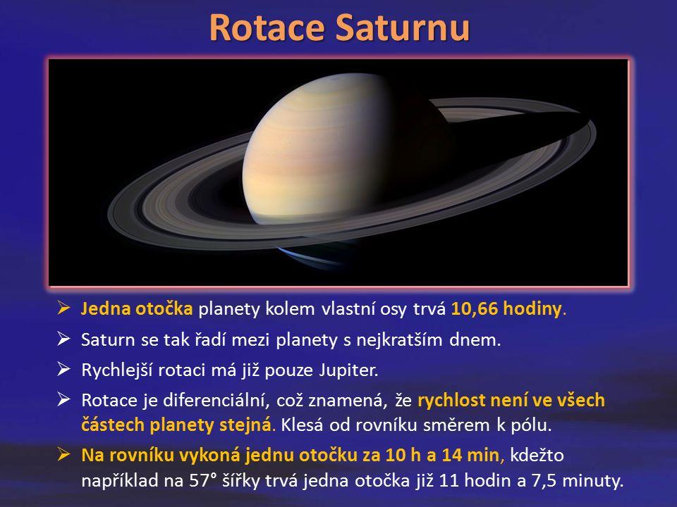 Rotace Saturnu  Jedna otočka planety kolem vlastní osy trvá 10,66 hodiny.  Saturn se tak řadí mezi planety s nejkratším dnem.  Rychlejší rotaci má