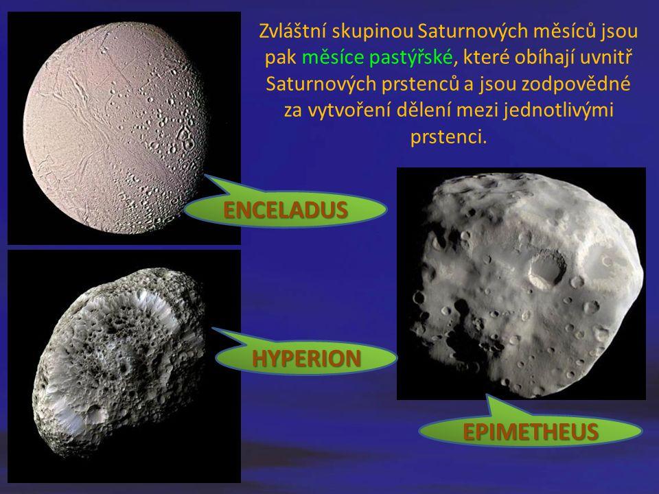 Zvláštní skupinou Saturnových měsíců jsou pak měsíce pastýřské, které obíhají uvnitř Saturnových prstenců a jsou zodpovědné za vytvoření dělení mezi j