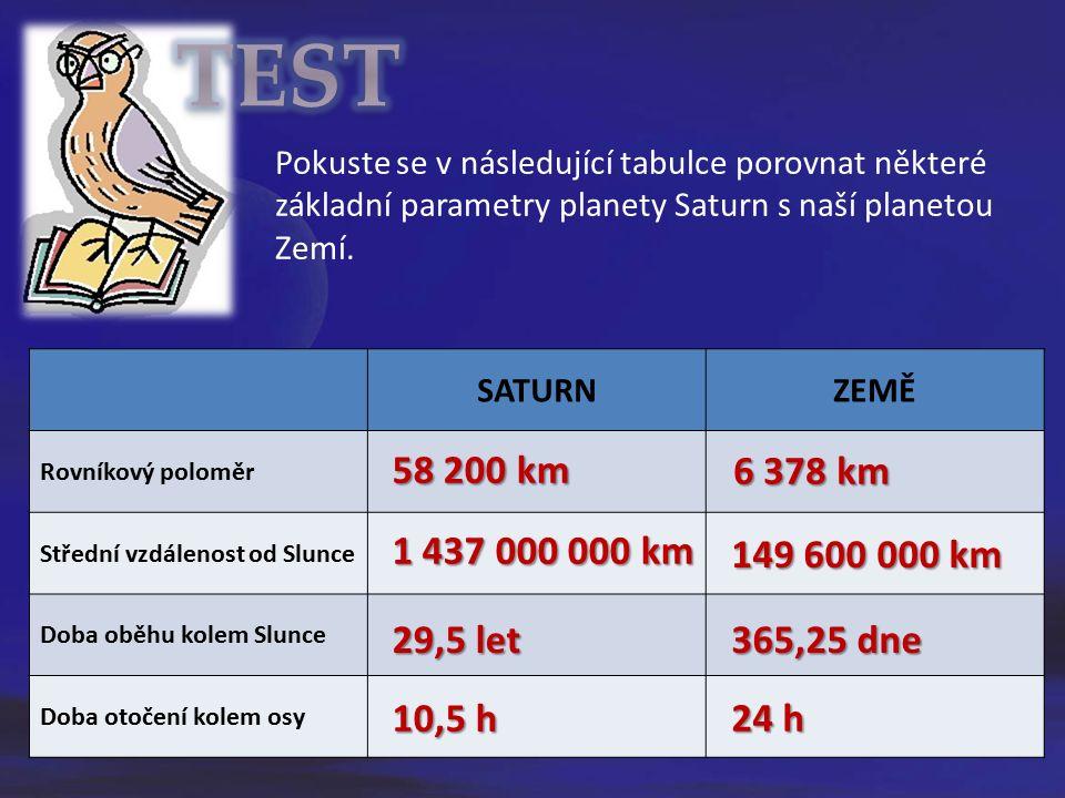 Pokuste se v následující tabulce porovnat některé základní parametry planety Saturn s naší planetou Zemí.