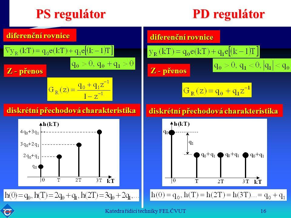 Katedra řídicí techniky FEL ČVUT16 PS regulátor PD regulátor diskrétní přechodová charakteristika diferenční rovnice Z - přenos diferenční rovnice Z - přenos diskrétní přechodová charakteristika