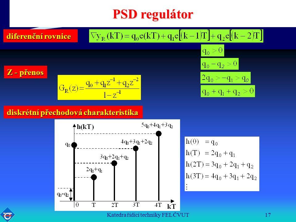 Katedra řídicí techniky FEL ČVUT17 PSD regulátor diskrétní přechodová charakteristika diferenční rovnice Z - přenos