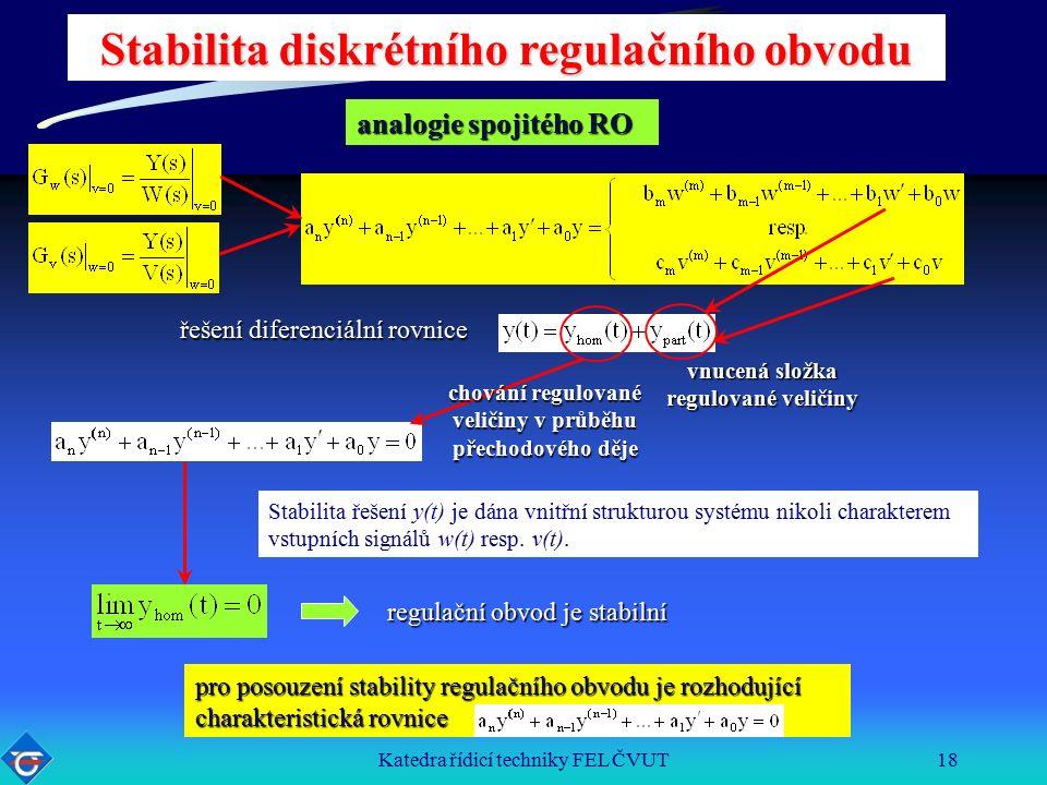 Katedra řídicí techniky FEL ČVUT18 Stabilita diskrétního regulačního obvodu řešení diferenciální rovnice vnucená složka regulované veličiny chování regulované veličiny v průběhu přechodového děje Stabilita řešení y(t) je dána vnitřní strukturou systému nikoli charakterem vstupních signálů w(t) resp.
