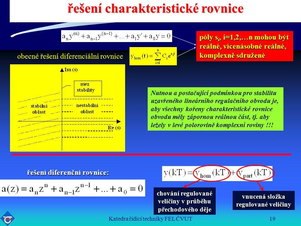 Katedra řídicí techniky FEL ČVUT19 řešení charakteristické rovnice obecné řešení diferenciální rovnice póly s i, i=1,2,…n mohou být reálné, vícenásobné reálné, komplexně sdružené Nutnou a postačující podmínkou pro stabilitu uzavřeného lineárního regulačního obvodu je, aby všechny kořeny charakteristické rovnice obvodu měly zápornou reálnou část, tj.