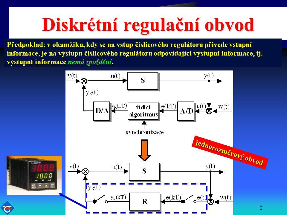 Katedra řídicí techniky FEL ČVUT2 Diskrétní regulační obvod Předpoklad: v okamžiku, kdy se na vstup číslicového regulátoru přivede vstupní informace, je na výstupu číslicového regulátoru odpovídající výstupní informace, tj.