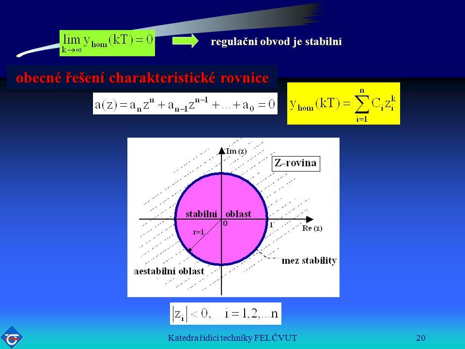 Katedra řídicí techniky FEL ČVUT20 regulační obvod je stabilní obecné řešení charakteristické rovnice