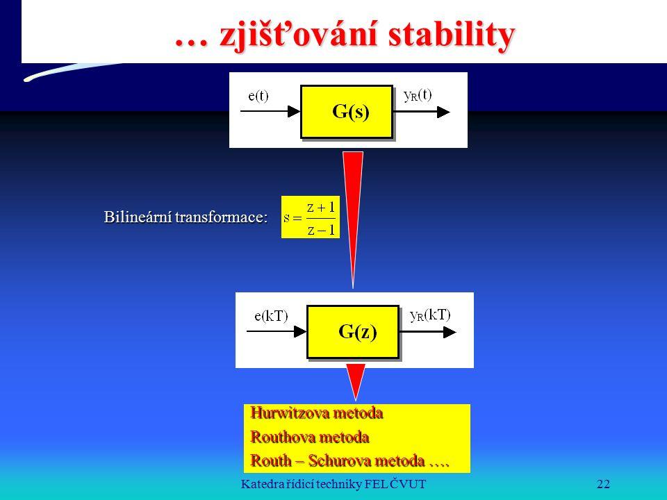 Katedra řídicí techniky FEL ČVUT22 … zjišťování stability Bilineární transformace: Hurwitzova metoda Routhova metoda Routh – Schurova metoda ….