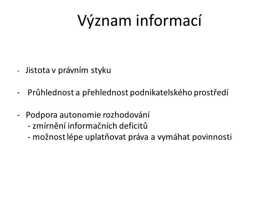 Význam informací - Jistota v právním styku -Průhlednost a přehlednost podnikatelského prostředí -Podpora autonomie rozhodování - zmírnění informačních