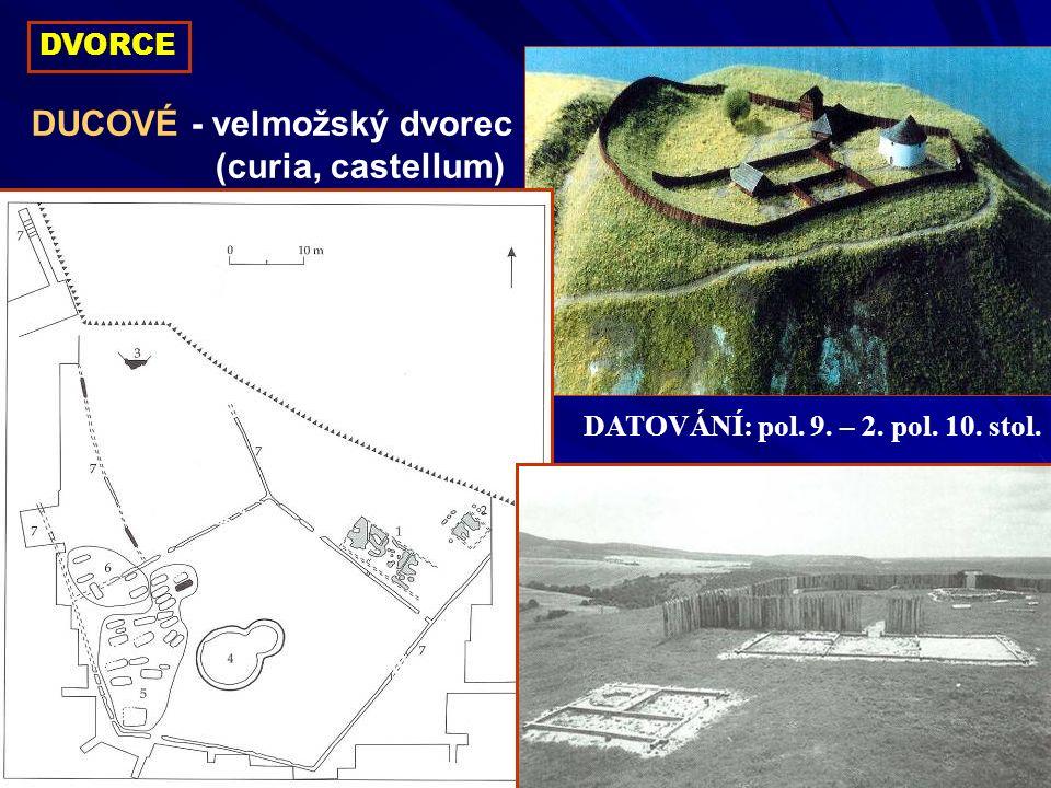 DVORCE DUCOVÉ - velmožský dvorec (curia, castellum) DATOVÁNÍ: pol. 9. – 2. pol. 10. stol.