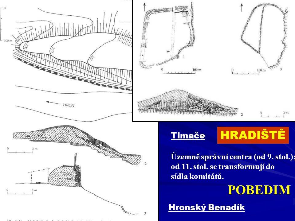 Hronský Benadík Tlmače HRADIŠTĚ Územně správní centra (od 9. stol.); od 11. stol. se transformují do sídla komitátů. POBEDIM
