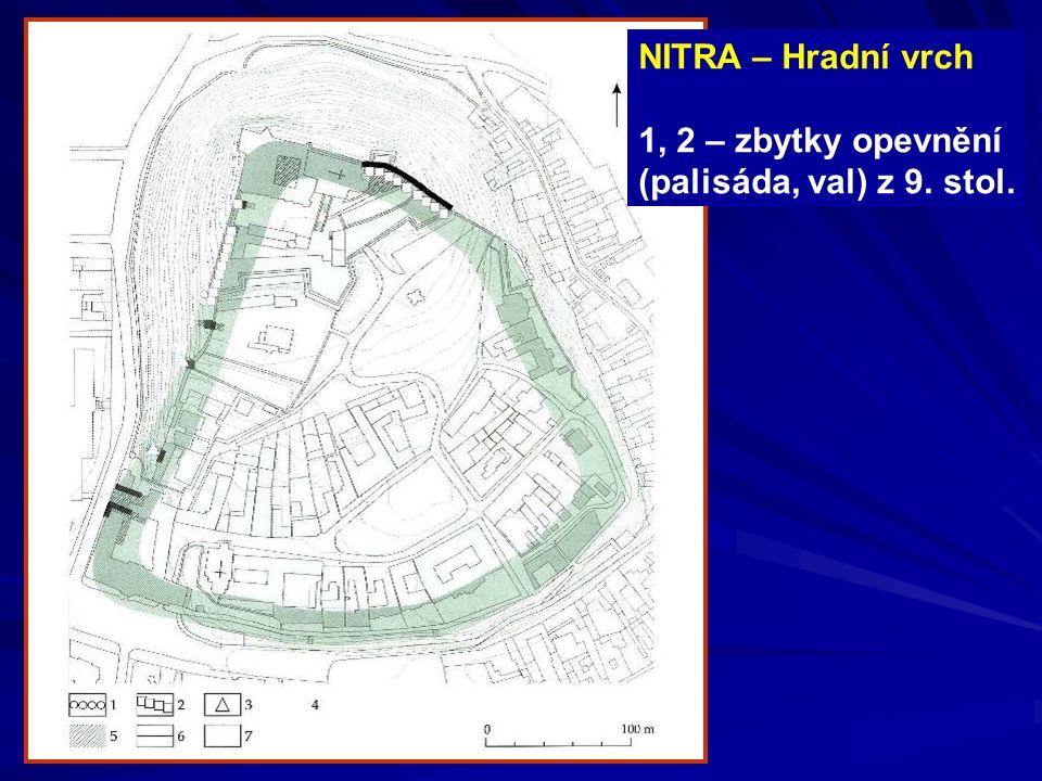 NITRA – Hradní vrch 1, 2 – zbytky opevnění (palisáda, val) z 9. stol.