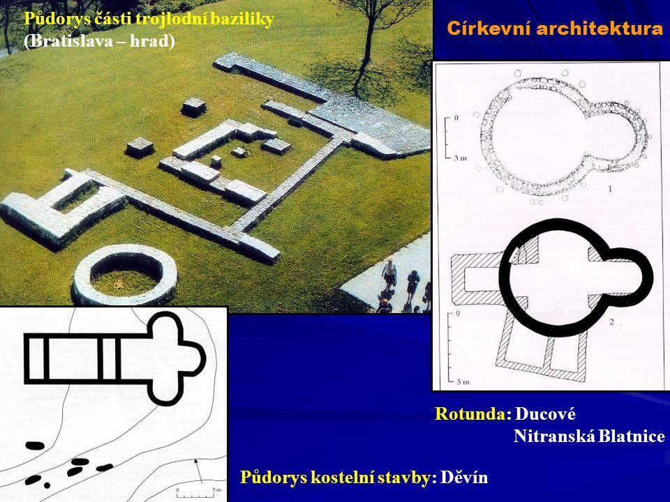 Rotunda: Ducové Nitranská Blatnice Půdorys kostelní stavby: Děvín Půdorys části trojlodní baziliky (Bratislava – hrad) Církevní architektura