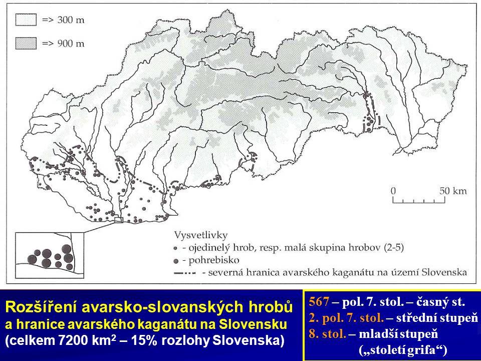 Rozšíření avarsko-slovanských hrobů a hranice avarského kaganátu na Slovensku (celkem 7200 km 2 – 15% rozlohy Slovenska) 567 – pol. 7. stol. – časný s