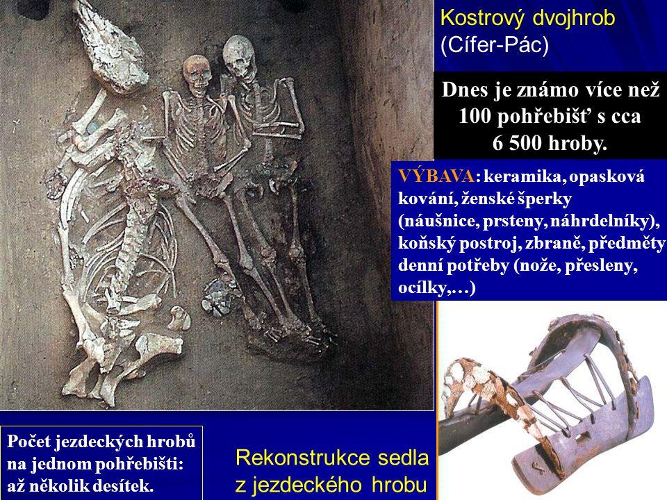 Kostrový dvojhrob (Cífer-Pác) Rekonstrukce sedla z jezdeckého hrobu Dnes je známo více než 100 pohřebišť s cca 6 500 hroby. VÝBAVA: keramika, opasková