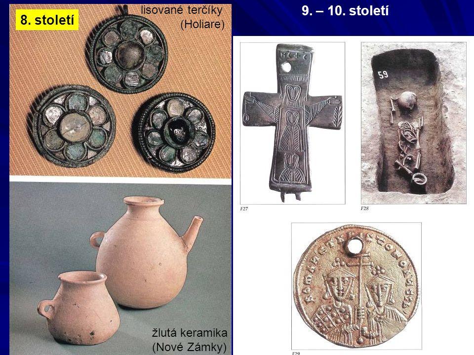 žlutá keramika (Nové Zámky) lisované terčíky (Holiare) 8. století 9. – 10. století