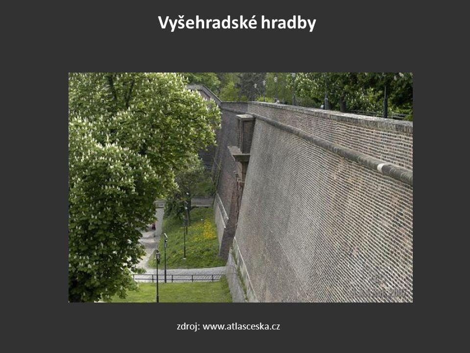 Vyšehradské hradby zdroj: www.atlasceska.cz