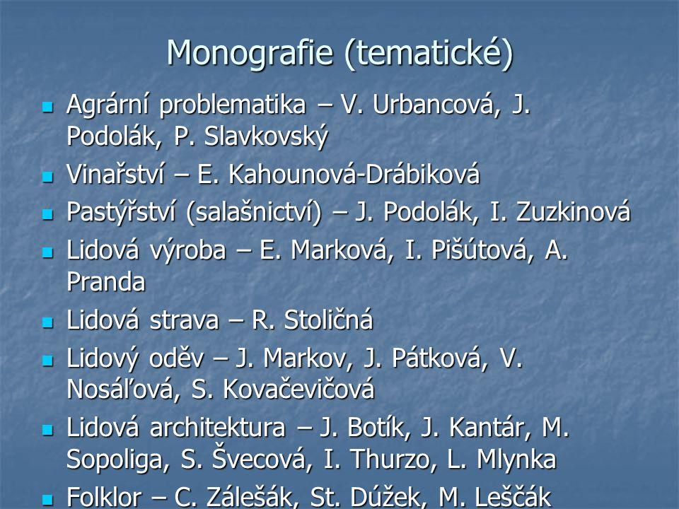 Monografie (tematické) Agrární problematika – V. Urbancová, J.
