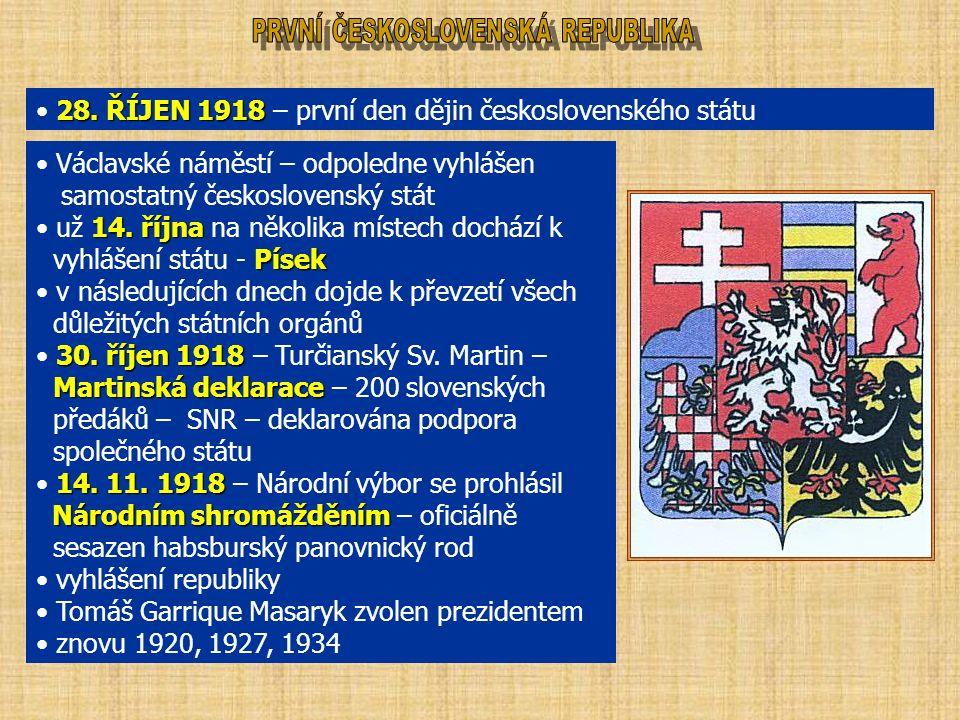 28. ŘÍJEN 1918 28. ŘÍJEN 1918 – první den dějin československého státu Václavské náměstí – odpoledne vyhlášen samostatný československý stát 14. října