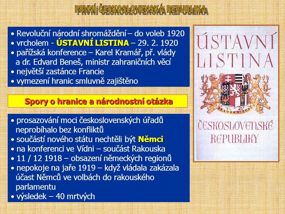 Revoluční národní shromáždění – do voleb 1920 ÚSTAVNÍ LISTINA vrcholem - ÚSTAVNÍ LISTINA – 29. 2. 1920 pařížská konference – Karel Kramář, př. vlády a