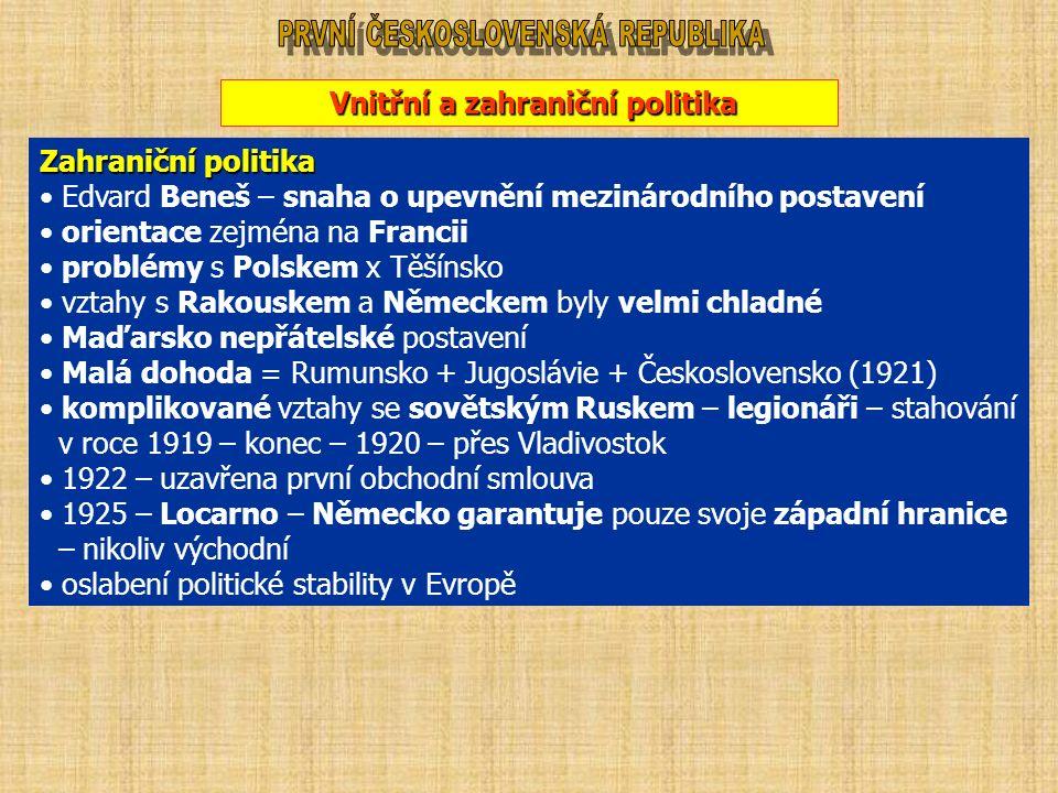 Vnitřní a zahraniční politika Zahraniční politika Edvard Beneš – snaha o upevnění mezinárodního postavení orientace zejména na Francii problémy s Polskem x Těšínsko vztahy s Rakouskem a Německem byly velmi chladné Maďarsko nepřátelské postavení Malá dohoda = Rumunsko + Jugoslávie + Československo (1921) komplikované vztahy se sovětským Ruskem – legionáři – stahování v roce 1919 – konec – 1920 – přes Vladivostok 1922 – uzavřena první obchodní smlouva 1925 – Locarno – Německo garantuje pouze svoje západní hranice – nikoliv východní oslabení politické stability v Evropě