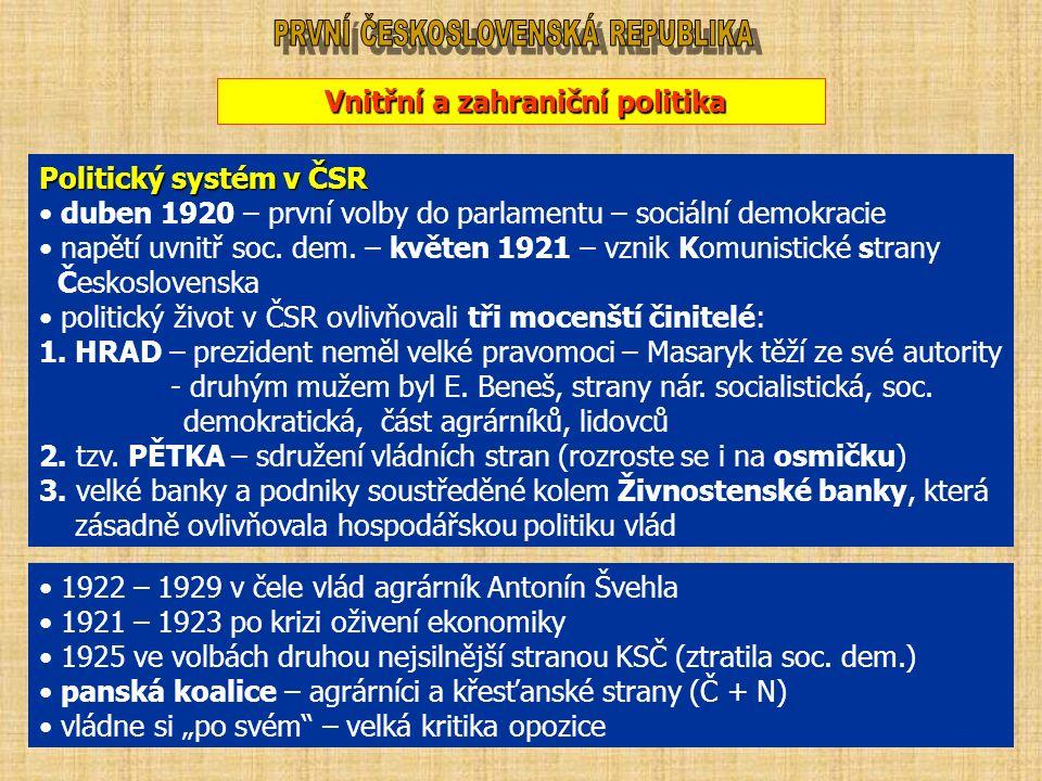 Vnitřní a zahraniční politika Politický systém v ČSR duben 1920 – první volby do parlamentu – sociální demokracie napětí uvnitř soc. dem. – květen 192