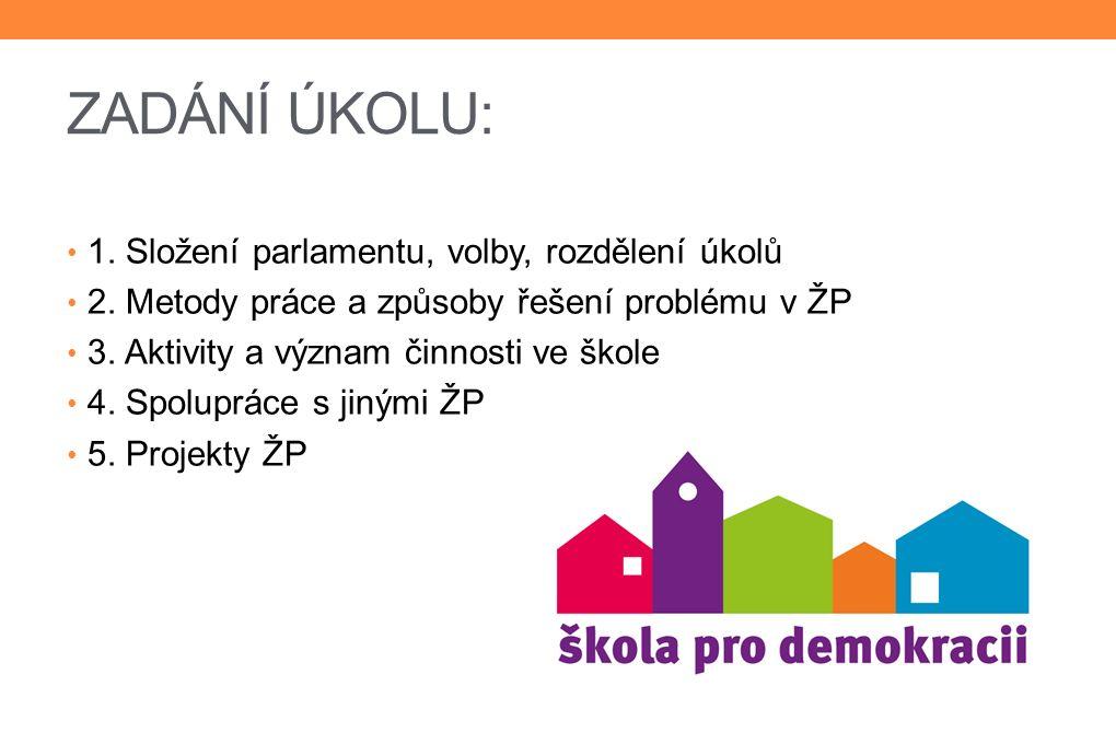 ZADÁNÍ ÚKOLU: 1.Složení parlamentu, volby, rozdělení úkolů 2.