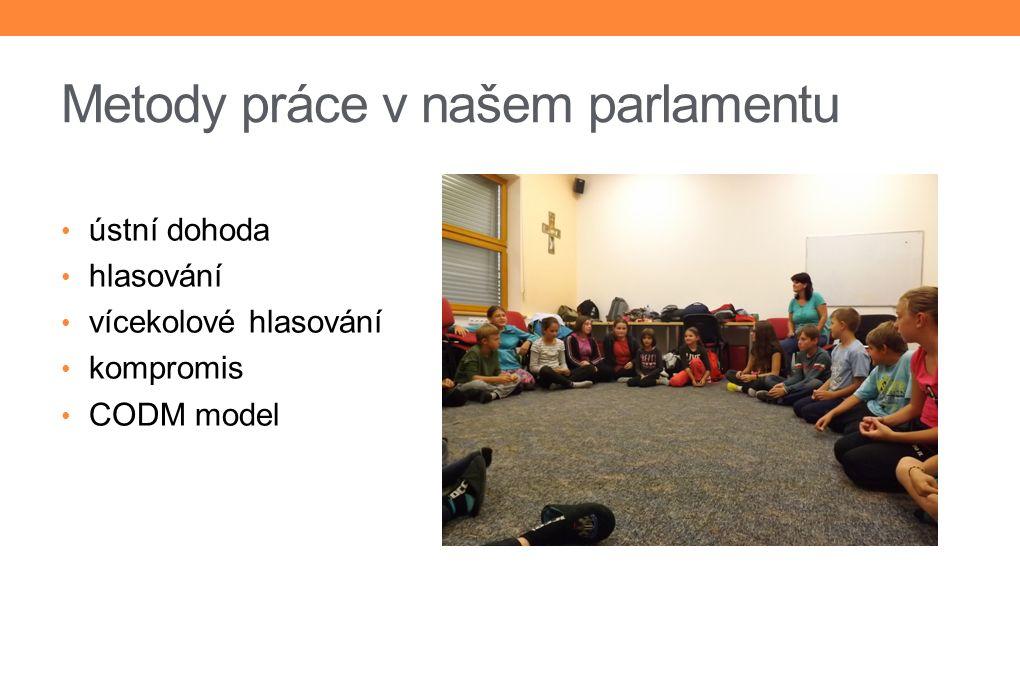 Metody práce v našem parlamentu ústní dohoda hlasování vícekolové hlasování kompromis CODM model