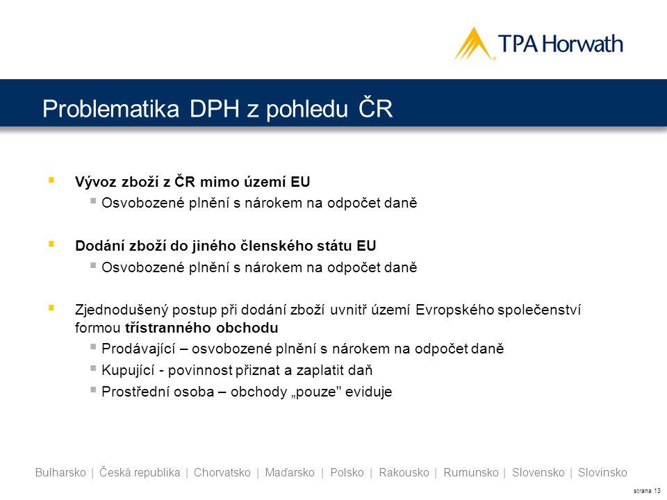 strana 13 Bulharsko | Česká republika | Chorvatsko | Maďarsko | Polsko | Rakousko | Rumunsko | Slovensko | Slovinsko  Vývoz zboží z ČR mimo území EU