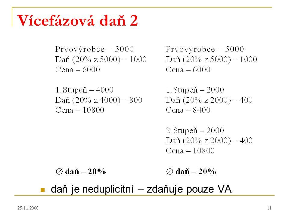 25.11.200811 Vícefázová daň 2 daň je neduplicitní – zdaňuje pouze VA