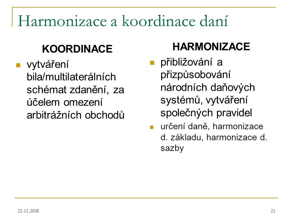 25.11.200821 Harmonizace a koordinace daní KOORDINACE vytváření bila/multilaterálních schémat zdanění, za účelem omezení arbitrážních obchodů HARMONIZACE přibližování a přizpůsobování národních daňových systémů, vytváření společných pravidel určení daně, harmonizace d.