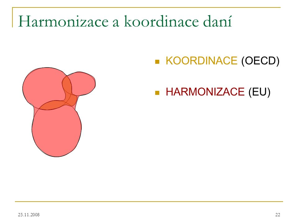 25.11.200822 Harmonizace a koordinace daní KOORDINACE (OECD) HARMONIZACE (EU)
