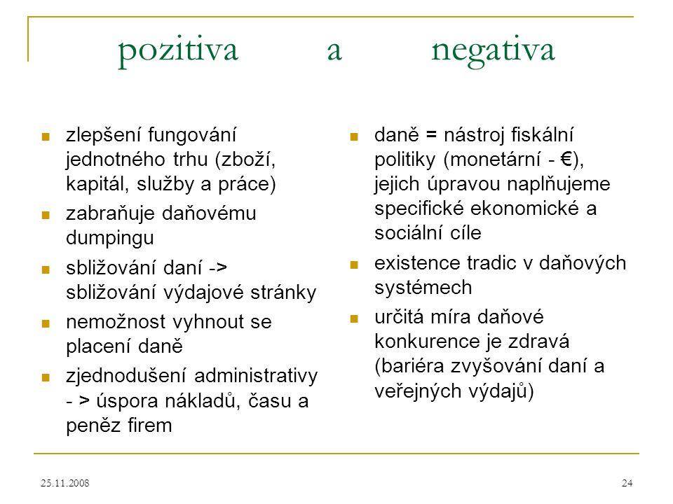 25.11.200824 pozitiva a negativa zlepšení fungování jednotného trhu (zboží, kapitál, služby a práce) zabraňuje daňovému dumpingu sbližování daní -> sbližování výdajové stránky nemožnost vyhnout se placení daně zjednodušení administrativy - > úspora nákladů, času a peněz firem daně = nástroj fiskální politiky (monetární - €), jejich úpravou naplňujeme specifické ekonomické a sociální cíle existence tradic v daňových systémech určitá míra daňové konkurence je zdravá (bariéra zvyšování daní a veřejných výdajů)