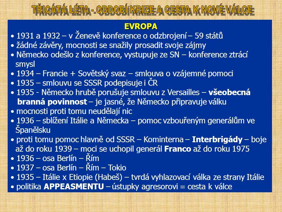 EVROPA EVROPA 1931 a 1932 – v Ženevě konference o odzbrojení – 59 států žádné závěry, mocnosti se snažily prosadit svoje zájmy Německo odešlo z konference, vystupuje ze SN – konference ztrácí smysl 1934 – Francie + Sovětský svaz – smlouva o vzájemné pomoci 1935 – smlouvu se SSSR podepisuje i ČR 1935 - Německo hrubě porušuje smlouvu z Versailles – všeobecná branná povinnost – je jasné, že Německo připravuje válku mocnosti proti tomu neudělají nic 1936 – sblížení Itálie a Německa – pomoc vzbouřeným generálům ve Španělsku proti tomu pomoc hlavně od SSSR – Kominterna – Interbrigády – boje až do roku 1939 – moci se uchopil generál Franco až do roku 1975 1936 – osa Berlín – Řím 1937 – osa Berlín – Řím – Tokio 1935 – Itálie x Etiopie (Habeš) – tvrdá vyhlazovací válka ze strany Itálie politika APPEASMENTU – ústupky agresorovi = cesta k válce