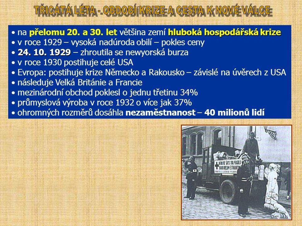 hluboká hospodářská krize na přelomu 20. a 30.