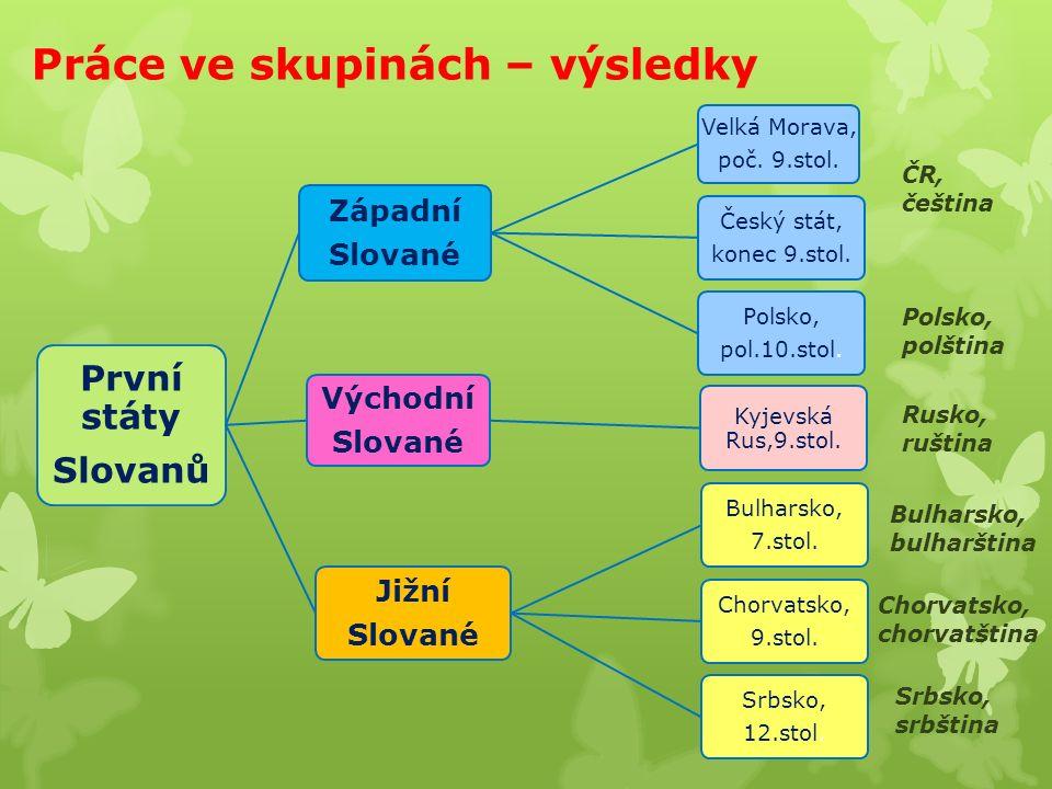 Práce ve skupinách – výsledky První státy Slovanů Západní Slované Velká Morava, poč.