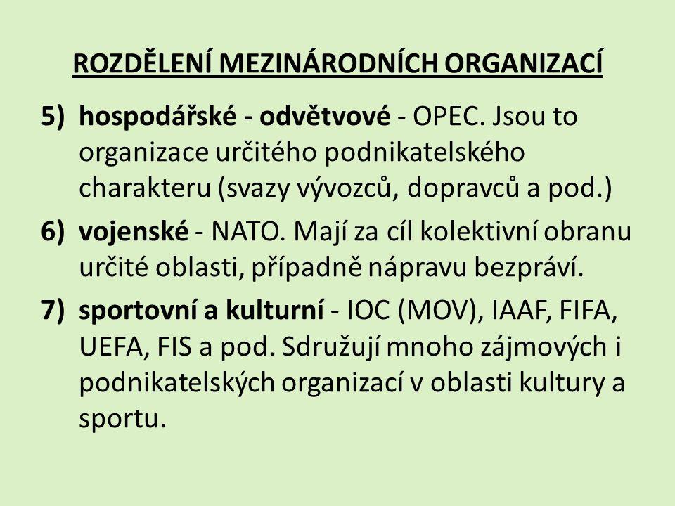 Charakteristika některých důležitých mezinárodních organizací