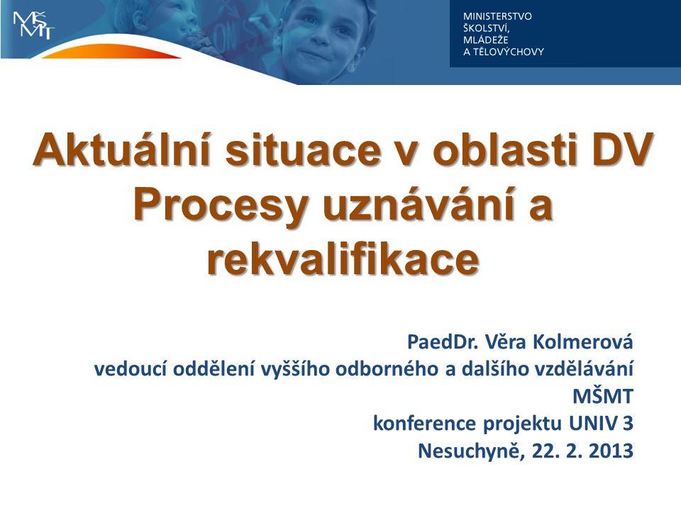 PaedDr. Věra Kolmerová vedoucí oddělení vyššího odborného a dalšího vzdělávání MŠMT konference projektu UNIV 3 Nesuchyně, 22. 2. 2013 Aktuální situace