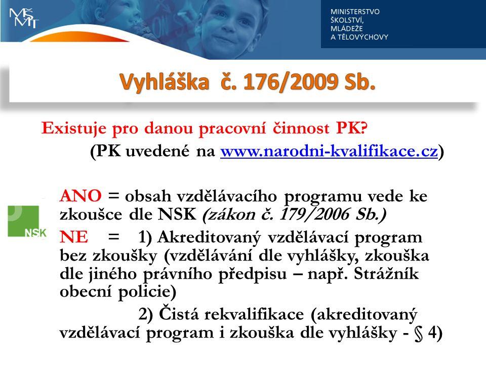 Existuje pro danou pracovní činnost PK? (PK uvedené na www.narodni-kvalifikace.cz)www.narodni-kvalifikace.cz - ANO = obsah vzdělávacího programu vede