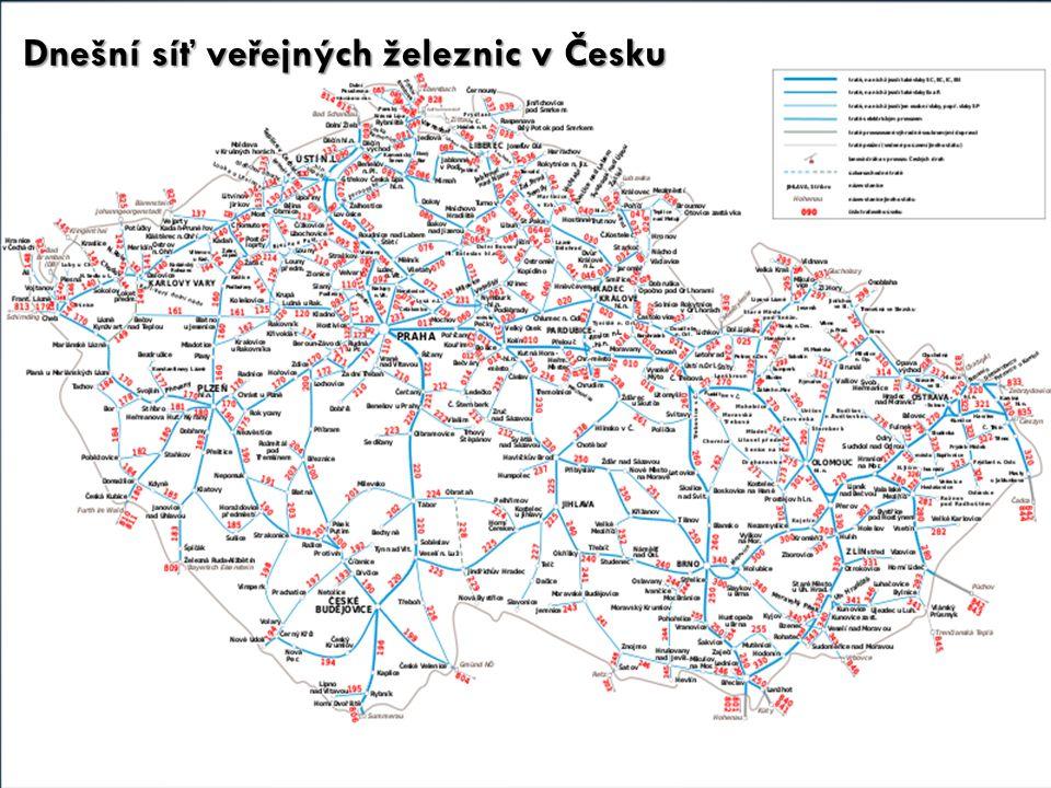 Dnešní síť veřejných železnic v Česku