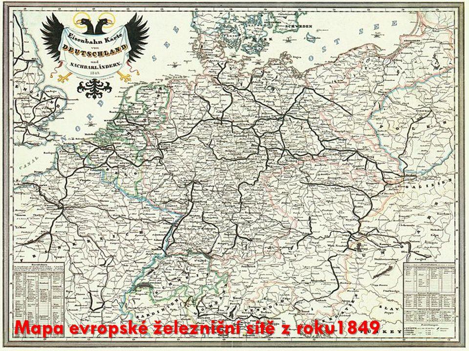 Mapa evropské železniční sítě z roku1849