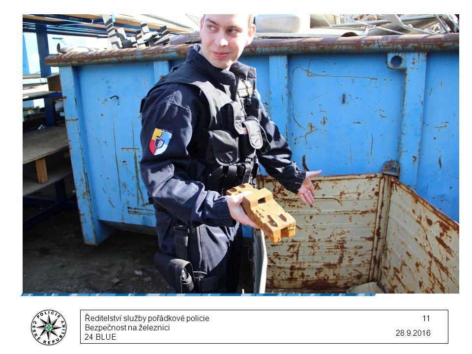 28.9.2016 Ředitelství služby pořádkové policie Bezpečnost na železnici 24 BLUE 11