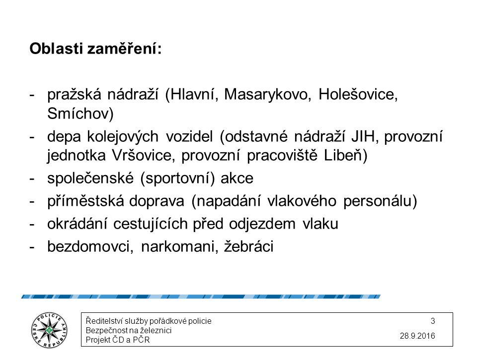 Oblasti zaměření: -pražská nádraží (Hlavní, Masarykovo, Holešovice, Smíchov) -depa kolejových vozidel (odstavné nádraží JIH, provozní jednotka Vršovice, provozní pracoviště Libeň) -společenské (sportovní) akce -příměstská doprava (napadání vlakového personálu) -okrádání cestujících před odjezdem vlaku -bezdomovci, narkomani, žebráci 28.9.2016 Ředitelství služby pořádkové policie Bezpečnost na železnici Projekt ČD a PČR 3