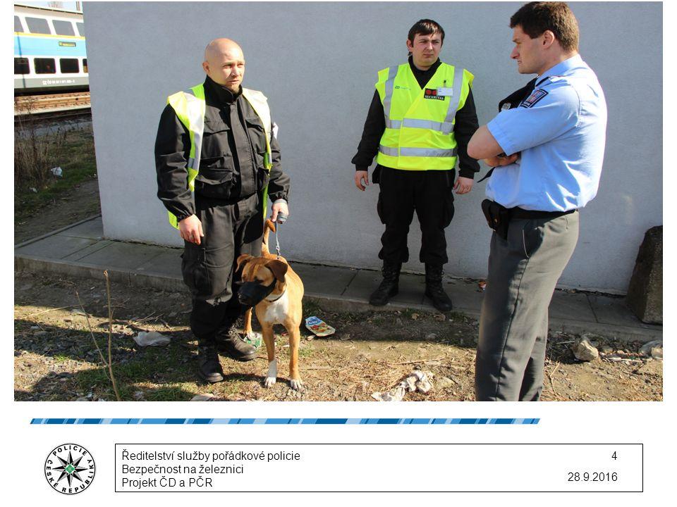 28.9.2016 Ředitelství služby pořádkové policie Bezpečnost na železnici Projekt ČD a PČR 4