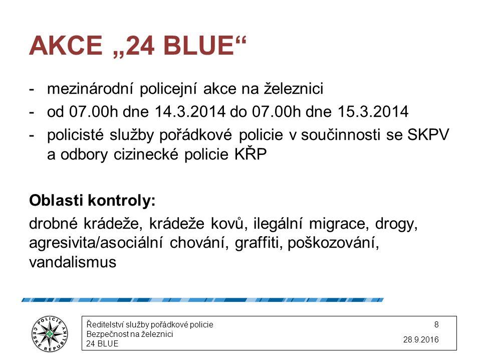 """AKCE """"24 BLUE -mezinárodní policejní akce na železnici -od 07.00h dne 14.3.2014 do 07.00h dne 15.3.2014 -policisté služby pořádkové policie v součinnosti se SKPV a odbory cizinecké policie KŘP Oblasti kontroly: drobné krádeže, krádeže kovů, ilegální migrace, drogy, agresivita/asociální chování, graffiti, poškozování, vandalismus 28.9.2016 Ředitelství služby pořádkové policie Bezpečnost na železnici 24 BLUE 8"""