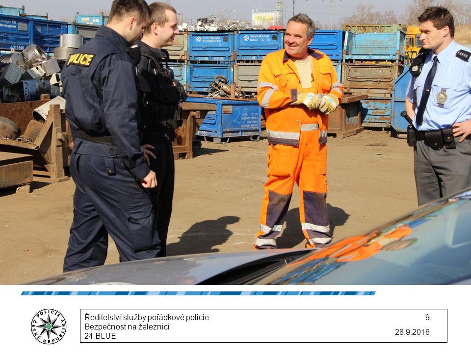 Každé KŘP si určilo: -konkrétní čas v daném rozpětí akce -místa a předměty kontrol -počet policistů Policie se zaměřila zejména na: -drogovou problematiku -vybrané vlakové spoje (R 441 a EC 172) -výkupny kovů 28.9.2016 Ředitelství služby pořádkové policie Bezpečnost na železnici 24 BLUE 10