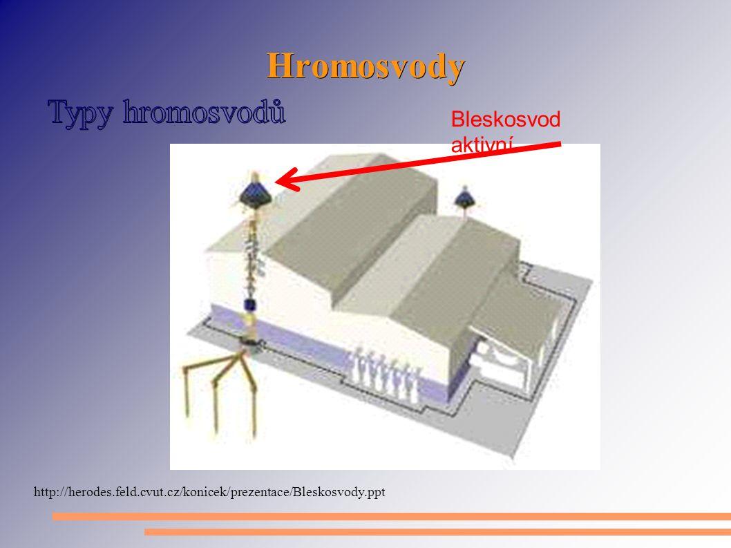 Hromosvody http://herodes.feld.cvut.cz/konicek/prezentace/Bleskosvody.ppt Bleskosvod aktivní