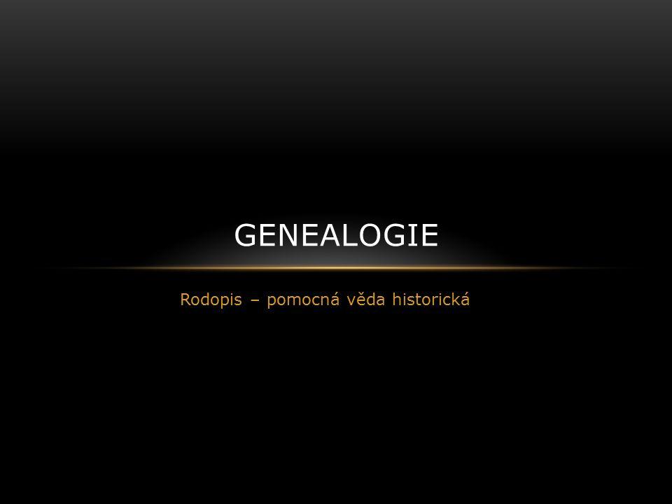Rodopis – pomocná věda historická GENEALOGIE