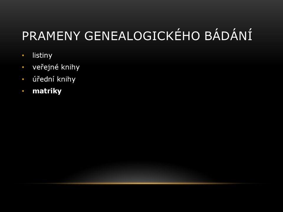 PRAMENY GENEALOGICKÉHO BÁDÁNÍ listiny veřejné knihy úřední knihy matriky